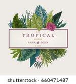 vintage wedding card. botanical ... | Shutterstock .eps vector #660471487