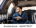 businessman with shades in... | Shutterstock . vector #660475927