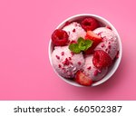 bowl of pink strawberry ice... | Shutterstock . vector #660502387
