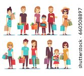 people shopping in mall cartoon ... | Shutterstock . vector #660508897