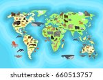 animals world map for kids... | Shutterstock . vector #660513757