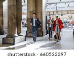 businesspeople are leaving the... | Shutterstock . vector #660532297