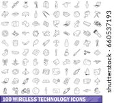 100 wireless technology icons... | Shutterstock . vector #660537193