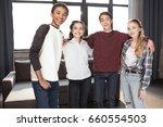happy group of teenagers... | Shutterstock . vector #660554503