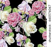 seamless pattern with flowers.... | Shutterstock . vector #660576067