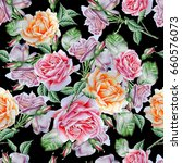seamless pattern with flowers.... | Shutterstock . vector #660576073