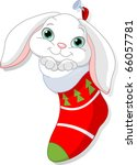 Cute White Bunny In Christmas...