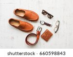 men's leather accessories on... | Shutterstock . vector #660598843