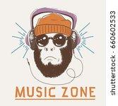 music fan hipster monkey... | Shutterstock .eps vector #660602533