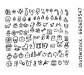 doodle christmas icons. hand... | Shutterstock .eps vector #660609547