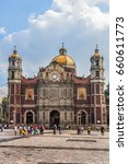 Small photo of MEXICO CITY - JULY 19, 2015: The ancient Basilica of Our Mary of Guadalupe (1709). Basilica is one of most important pilgrimage sites of Catholicism, is visited by several million people every year.