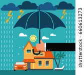 insurance agent with umbrella... | Shutterstock .eps vector #660613273