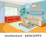 Vector illustration of a cozy cartoon interior of a home room, a living room with a sofa, coffee table, chest of drawers, shelf and window curtains | Shutterstock vector #660616993