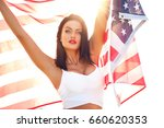 sexy young woman holding star... | Shutterstock . vector #660620353