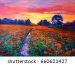 Oil Painting Of A Poppy Field....
