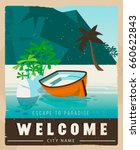 travel poster in vintage style. ... | Shutterstock .eps vector #660622843