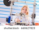 a female student or laboratory... | Shutterstock . vector #660627823
