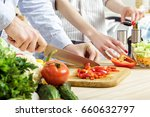 hands of man chopped red bell... | Shutterstock . vector #660632797