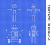 vintage toy robots  in...   Shutterstock .eps vector #660633583