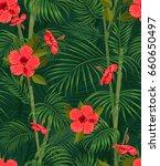 seamless hand drawn tropical... | Shutterstock .eps vector #660650497