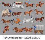 Stock vector set of vector illustration with horses and horse drawn vehicles 660666577