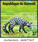 Small photo of Milan, Italy - June 10, 2017: African civet on postage stamp of Burundi
