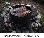 freshly cooked smoked salmon in ...