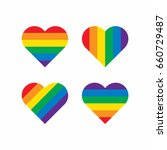 rainbow heart shape  | Shutterstock .eps vector #660729487