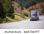 lilac semi truck with aluminum