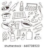 set of cooking doodle design... | Shutterstock .eps vector #660738523