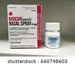 Small photo of June 13, 2016-ogden Utah, USA: narcan nasal spray is available in pharmacies which can prevent overdose from opioids like oxycodone.