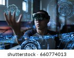 men playing virtual reality... | Shutterstock . vector #660774013