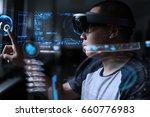 men steps into virtual reality... | Shutterstock . vector #660776983
