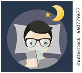 man using mobile before bed... | Shutterstock .eps vector #660779677