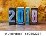 2018 happy new year postcard.... | Shutterstock . vector #660802297