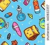 kawaii school seamless pattern... | Shutterstock .eps vector #660832357