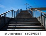 grey ascending stairs with... | Shutterstock . vector #660895357