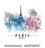 paris illustration. vector... | Shutterstock .eps vector #660936967
