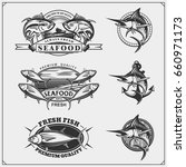 fishing labels  badges  emblems ... | Shutterstock .eps vector #660971173