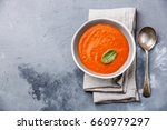 gazpacho soup with green basil... | Shutterstock . vector #660979297