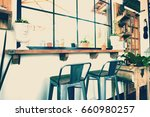 vintage tables and chairs in... | Shutterstock . vector #660980257