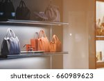 luxury purses in a store in... | Shutterstock . vector #660989623