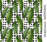 seamless exotic leaves pattern | Shutterstock .eps vector #660994843