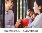 couple of men and women giving... | Shutterstock . vector #660998533