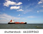 lpg tanker at sea and blue sky... | Shutterstock . vector #661009363