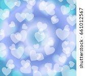 blue heart bokeh  pattern ... | Shutterstock .eps vector #661012567