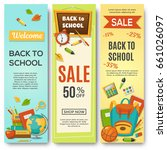 back to school  set of vertical ... | Shutterstock .eps vector #661026097