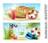 vector set of two summer sale...   Shutterstock .eps vector #661070707