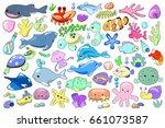 sea animal and fish cartoon...   Shutterstock .eps vector #661073587