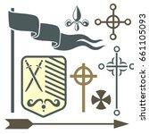 heraldic royal crest medieval... | Shutterstock .eps vector #661105093